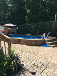 Genial Radiant 14x22 Semi Inground Freeform With Pavers · Swimming Pool ...