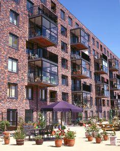Condominium Architecture, Brick Architecture, Urban Architecture, Rotterdam, Co Housing, Sweet Home Design, Sheltered Housing, Urban Village, Brick Facade