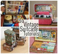 Ideas sewing kit box diy vintage suitcases for 2019 Diy Projects To Try, Sewing Projects, Craft Projects, Craft Tutorials, Sewing Tutorials, Vintage Suitcases, Vintage Luggage, Suitcase Decor, Suitcase Storage