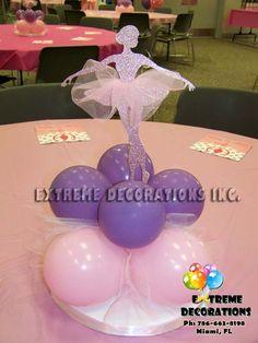 tutu centerpieces | Pink glitter ballerina centerpieces with tulle tutu and balloon base