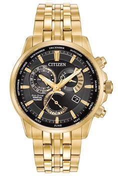 CITIZEN BL8142-50E ECO-DRIVE MEN'S GOLD-TONE ALARM WATCH w/ DAY-DATE MSRP: $575.00 CITIZEN CALIBRE 8700: Old world inspiration meets new world technology in this classy Calibre 8700 with alarm unlike any other. This gold- tone stainless steel timepiece is loaded with features including dual time, 12/24-hour time and month/day/date and it [...]
