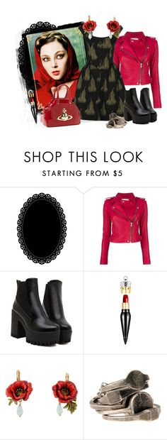 """""""Red/Black"""" by elsakurppa ❤ liked on Polyvore featuring Darice, IRO, Vivienne Westwood, Christian Louboutin, Ann Demeulemeester, black, red and redblack"""