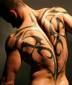 This kind of tribal tattoo design doesn't have a symbolic or even an historic meaning. It is purely for decorative purposes, accentuating the muscles of this body builder.