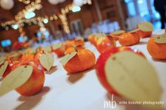 Fall wedding idea: apples and pumpkins for table assignments