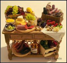 Items similar to Table Miniature on Etsy Dolls House Shop, Mini Doll House, Barbie, Miniature Kitchen, Miniature Food, Bakers Table, Tiny Food, Tuscan Decorating, Meat And Cheese