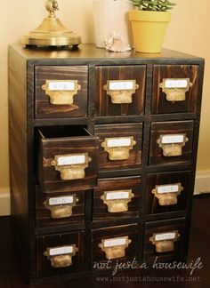 DIY: How to Build your own library card catalog table || www.notjustahousewife.net #vintage #DIY