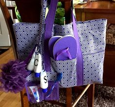 shower totes and lanyards when they go camping. For the totes, she wanted it large enough to hol...