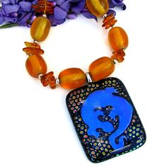 #Dichroic #Lizard #Gecko Pendant and #Amber #Necklace, Sparkling #Handmade Artisan #Jewelry by @ShadowDog #ShadowDogDesigns #Indiemade - $135.00 - SOLD*