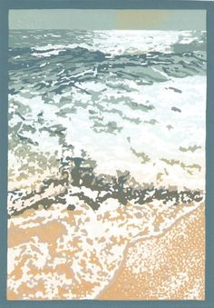 Cape Vidal / sea - lino print 2009 - Annamie Pretorius, Eire, born South Africa