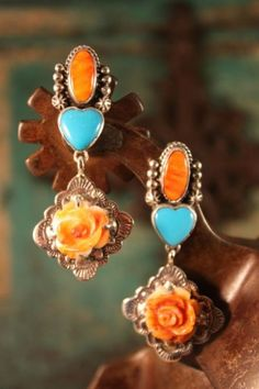 Jewelry - Earrings - LOVELY TURQ/SPINY OYSTER ROSE EARRINGS! - DoubleDRanch|High End Ladies Western Wear|Vintage Collection|Black as Crow Onyx|Cowgirl Fashion|Jewelry Nested in Sterling Silver|Turquoise - (Powered by CubeCart)