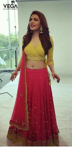 Kajal Agarwal Navel Photo Shoot In Red Lehenga Yellow Choli Stylish Blouse Design, Fancy Blouse Designs, Blouse Neck Designs, Indian Blouse Designs, Blouse Styles, Lehenga Designs, Choli Designs, Red Lehenga, Anarkali