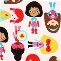 weißer weibliche Superhelden Stoff von Robert Kaufman USA - Stoffe für Jungs - Stoffe