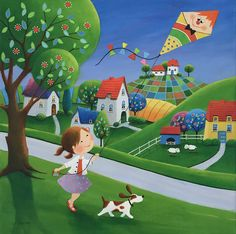 Paintings and illustrations by Iwona Lifsches. Art presentation and sale of original paintings and other art products. Happy Art, Naive Art, Whimsical Art, Acrylic Painting Canvas, Drawing For Kids, Cute Illustration, Fine Art Paper, Cute Art, Folk Art