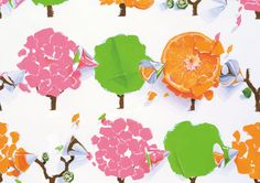 デザイン科 色彩構成「蜜柑・折り紙・アクリル円錐・オクラ・季節をテーマに構成