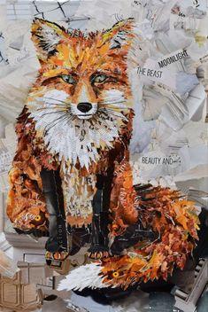 Deborah Shapiro Creates Collages Of Torn Paper & Magazines Paper Collage Art, Collage Art Mixed Media, Collage Artwork, Paper Art, Magazine Collage, Magazine Art, Create Collage, Animal Quilts, Fox Art