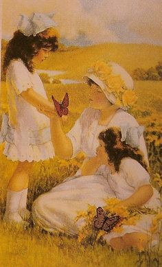 """Bessie Pease Gutmann, Illustrator, """"Butterflies"""" circa This is part of the Nature Study series. Vintage Pictures, Vintage Images, Vintage Prints, Vintage Art, Bessie Pease Gutmann, Adventures In Wonderland, Mother And Child, Mellow Yellow, American Artists"""