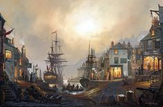Maritime art by St Ives artist Donald MacLeod. Old Cornish Harbours. Battle Of The Nile, Old Sailing Ships, Ocean Sailing, Man Of War, Tate Gallery, Naval History, Fantasy Places, Nautical Art, Tall Ships