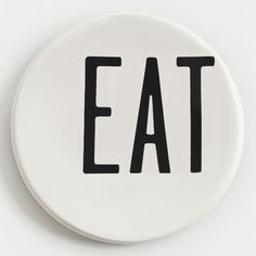 "EAT Canape Plate 6.25"" 6Pc, $19, now featured on Fab. - could do this with a sharpie - YUM, SNACKS, TREATS, etc."