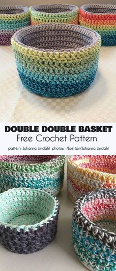 Double Double Basket Free Crochet Pattern These beautiful baskets for storing things or just for setting out to look pretty have stiff sides so that they remain upright. The double wall Gilet Crochet, Stitch Crochet, Crochet Amigurumi, Crochet Stitches, Knit Crochet, Crochet Slippers, Crochet Hooks, Crochet Bowl, Crochet Basket Pattern