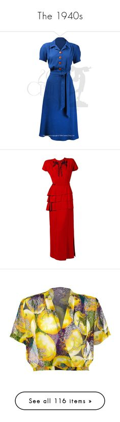 """The 1940s"" by sophialovescoffee ❤ liked on Polyvore featuring dresses, gowns, vintage, evening dresses, red evening dresses, couture gowns, peplum dress, red peplum dress, red gown and tops"