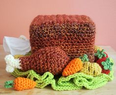 Free Crochet Pattern: Turkey Tissue Box Cozy with Roasted Veggies