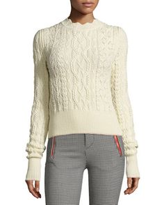 Scalloped+Cable-Knit+Sweater,+Ecru+by+Isabel+Marant+at+Bergdorf+Goodman.
