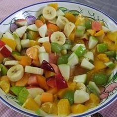 Who knew that peach pie filling tasted so good when stirred into a bowl of sliced fruit - kiwi, bananas, grapes, and strawberries? Makes eight very generous servings.