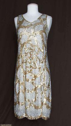 ~SILVER BEAD & GOLD SEQUIN EVENING DRESS, c. 1925~