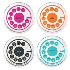 Crafted of hand-painted glass, the Fairmount Park Telephone Coasters from kate spade new york are inspired by the old fashioned rotary telephone. Each coaster has its own saying inscripted in the center and are available in four bright colors