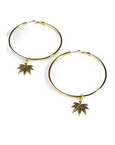 Blunted Objects Hoop Dreams Leaf Earrings are perf even if yer just courtside chillin'. These amazing oversized hoop earrings feature a luxxx gold plated construction, teeny weed leaf charms dangling off the ends, and clasp hook closures.