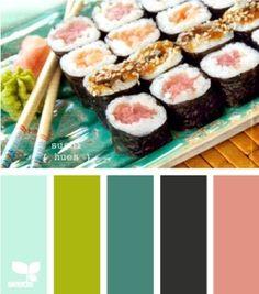 sushi hues - by Design Seeds Colour Pallette, Colour Schemes, Color Combos, Color Patterns, Beach Color Schemes, Color Charts, Design Seeds, World Of Color, Color Stories