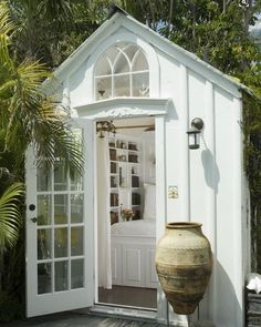 """A tiny shed turned guest bedroom from my Key West friend's house that appears in my book """"Key W&; A tiny shed turned guest bedroom from my Key West friend's house that appears in my book """"Key W&; Susa […] Homes Cottage sheds Outdoor Rooms, Outdoor Living, Outdoor Bedroom, Tiny House, She Sheds, Shed Design, Cozy Cottage, Guest House Cottage, Guest House Shed"""