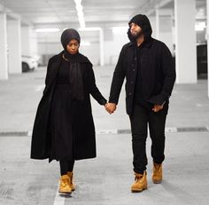 Such a fashionable, modest, badass looking couple. Muslim Women Fashion, Modest Fashion, Hijab Fashion, Fashion Outfits, Cute Muslim Couples, Cute Couples, Muslim Wedding Dresses, Muslim Brides, Wedding Hijab