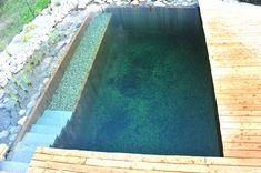 Gardenplaza - Zwei Elemente miteinander verbunden in einem Naturpool - Wasser und Holz