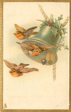 Christmas postcard ~ robins and silver bell with holly, 1907.