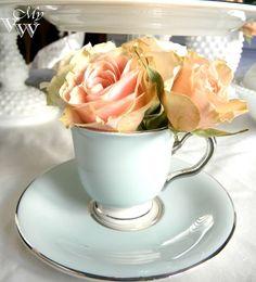 Valentine Table Decor, turquoise china