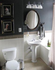Bathroom Tile. Like the light tile and dark walls half way up.