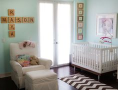 Use jumbo Scrabble tiles to personalize a nursery.