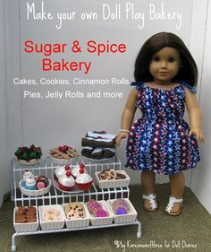 What every American Girl doll needs! Make a doll bakery- great tutorial to make the bakery and using fun foam and felt to create:cherry pie