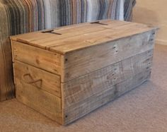 Handmade in Stirling, Scotland New Handmade chunky Rustic Toy Box or Blanket Box (shown in jacobean oak) Sides and bottom made in 50mm pine Lid made in 18mm pine Rope Handles and Safety Stay Fitted £20 DELIVERY IF YOU LIVE WITHIN 50 MILES OF STIRLING OTHERWISE DELIVERY CHARGE AS LISTED This is a heavy, solid piece of furniture, weighs approx 45 kg Stained in a choice of oak (select colour from photo) Finished in wax or satin varnish No visible screws or dowels (solid construction) The ...