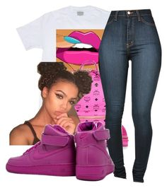 """Fresh As F**k"" by chynaloggins ❤ liked on Polyvore featuring MCM and NIKE"
