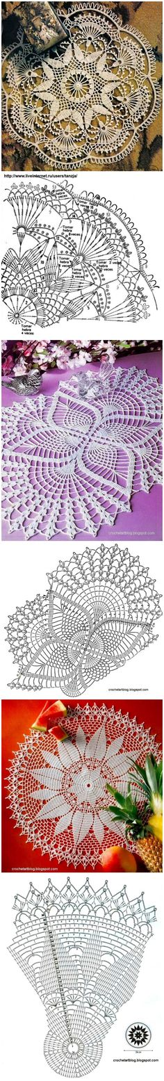 Gran cantidad de patrones de tapetes de ganchillo   -   Lots of free crochet doily patterns here.