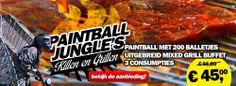 Killen&Grillen bij #Paintball Jungle! Eerst paintballen op 12 verschillende gethematiseerde speelvelden, om vervolgens heerlijk te genieten van een uitgebreid mixed #grillbuffet. Ideaal voor bijvoorbeeld een #vrijgezellenfeest!