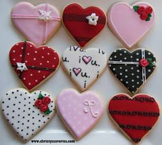 Heart Cookies~ By Christies Savories, red, pink, black, white, polka dot, rosebud