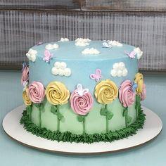 Bolinho jardim bem mimosinho que fiz ontem! Cake Decorating Designs, Cake Decorating Techniques, Cake Designs, Buttercream Cake Decorating, Cake Cookies, Cupcake Cakes, Amazing Cakes, Beautiful Cakes, Spring Cake