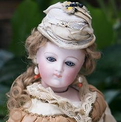 """14"""" (35 cm) Antique French Fashion Poupee Doll by Bru In Silk Couture Gown"""