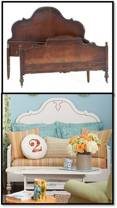 Repurpose head- and foot- boards of a bed into a couch (obviously, in a more attractive way than the example).