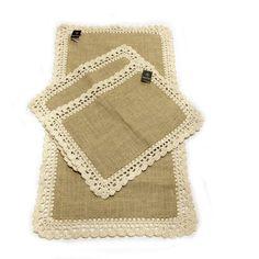 Jogo de tapetes para cozinha em juta e crochê - 3 peças
