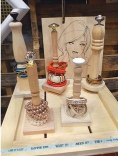 Spindle stands from acedesigns.com         Great idea for bracelet display