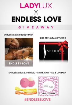 GIVEAWAY: Enter to Win a $100 Sephora Gift Card and Endless Love Prize Packag - See more at: http://www.ladylux.com/style/site/article/endless-love-movie-giveaway/#sthash.Hxz8m4w3.dpuf